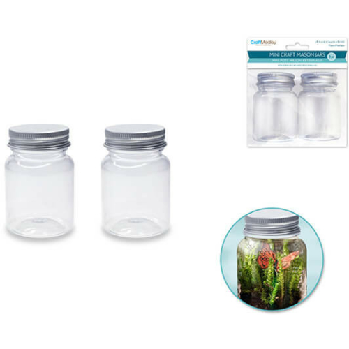 Műanyag üveg csavaros tetővel, 4,5x6,7cm, 60 ml-es, 2 db/csomag