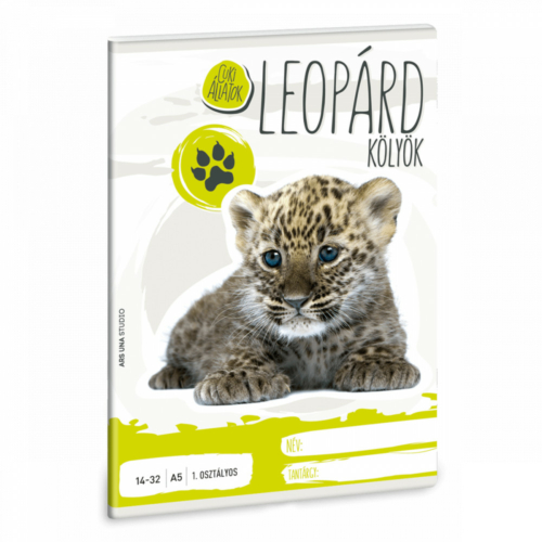 Cuki állatok tűzött füzet A/5, 32 lap vonalas 1.osztály (14-32), leopárd