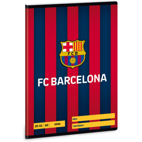 FC Barcelona tűzött füzet A/5, 32 lap sima, FCB logó csíkos háttérrel