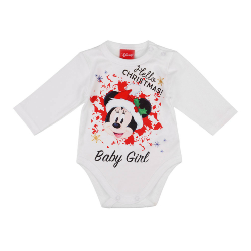 "Disney Minnie ""Hello Christmas"" feliratos hosszú ujjú baba body"